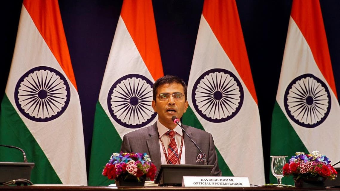 Raveesh Kumar, spokesman for the Indian Foreign Ministry, speaks during a media briefing in New Delhi, India, March 9, 2019. (Reuters)