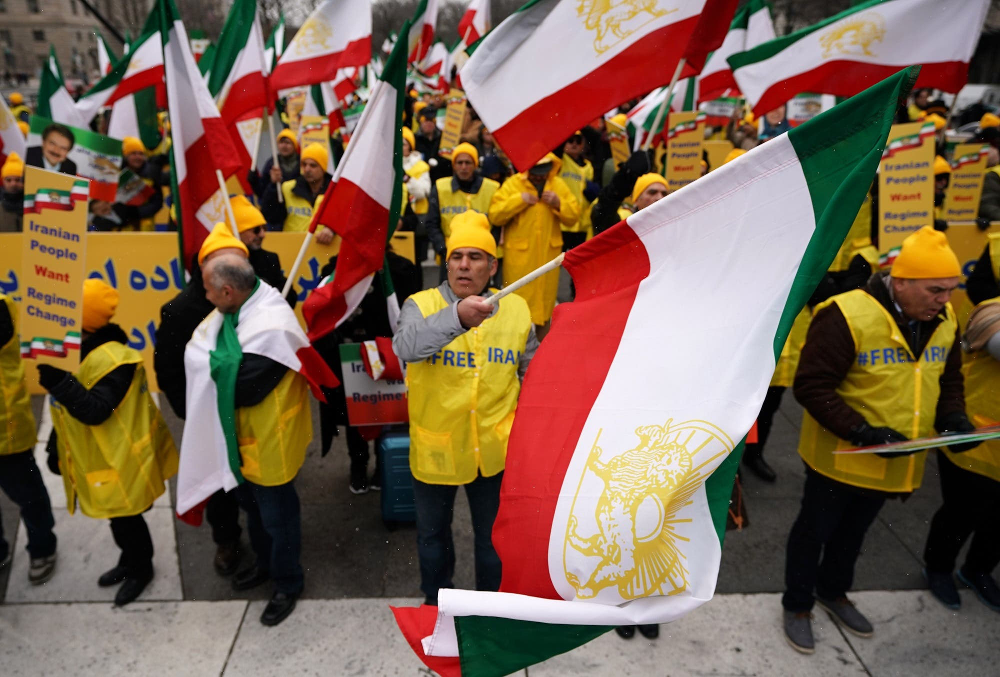 """The Organization of Iranian-American Communities holds a rally and march in support of """"the nationwide uprisings in Iran for regime change"""" on March 8, 2019 in Washington, DC. (AFP)"""