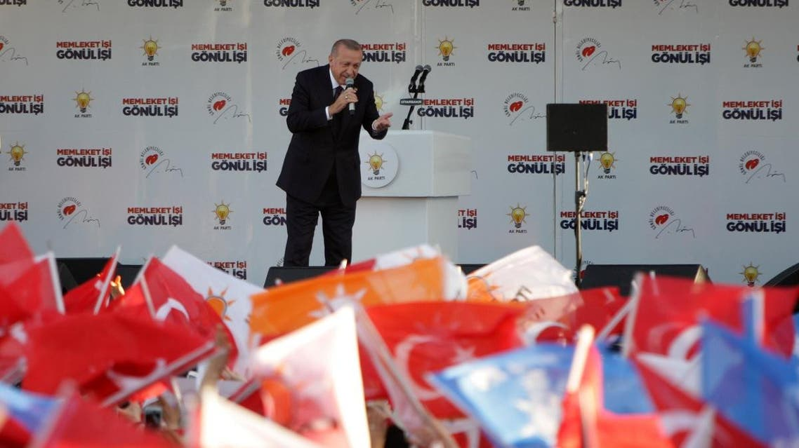 Turkish President Tayyip Erdogan addresses his supporters during a rally for the upcoming local elections in Diyarbakir, Turkey, March 9, 2019. (Reuters)