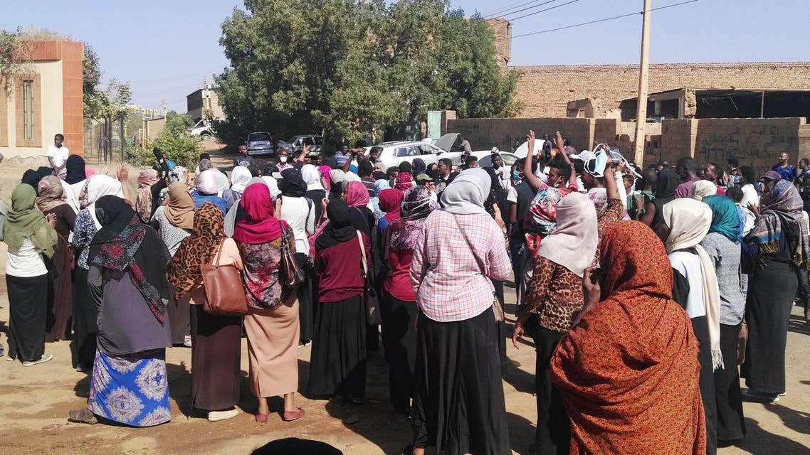 Sudanese women join an anti-government protest in Khartoum's twin city Omdurman on January 24, 2019. (AFP)