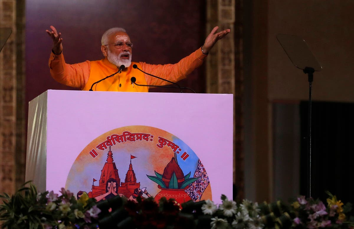Indian Prime Minister Narendra Modi, speaks after taking a holy dip at Sangam, the confluence of the Rivers Ganges, Yamuna and mythical Saraswati, during Kumbh festival. (File photo: AP)