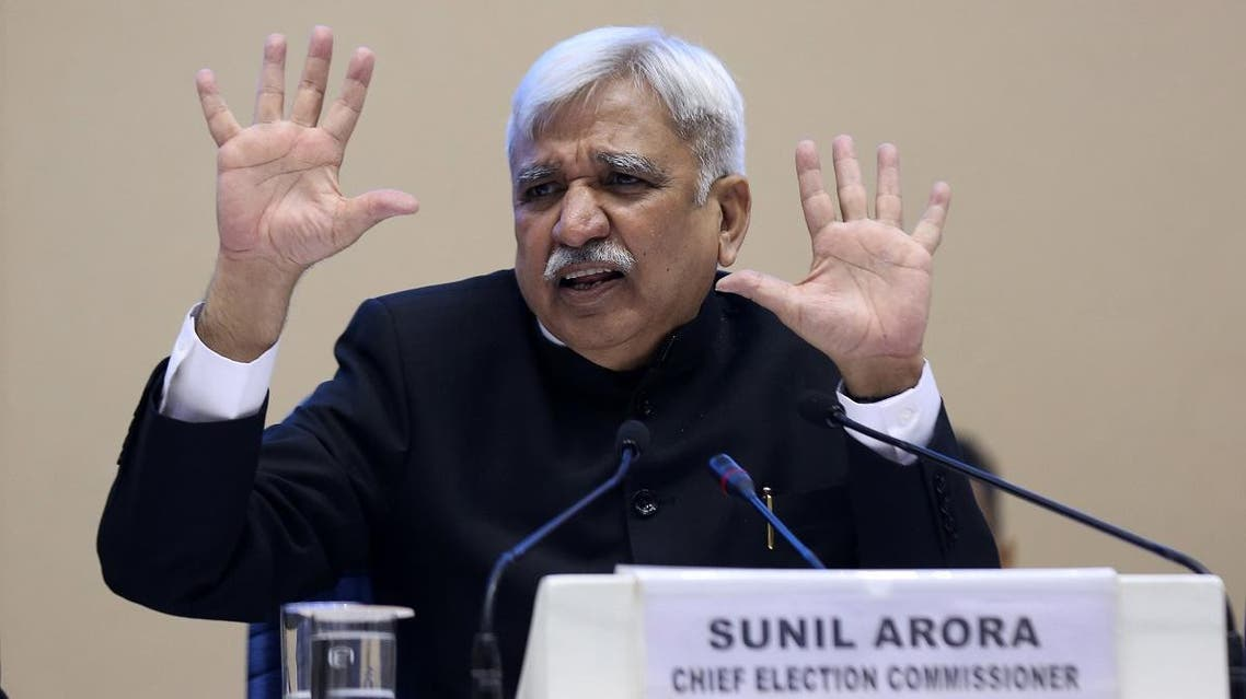 India's Chief Election Commissioner Sunil Arora speaks during a press conference in New Delhi. (AFP)