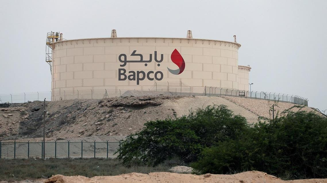 A fuel storage tank of state-run Bapco is seen south of Manama. (Reuters)