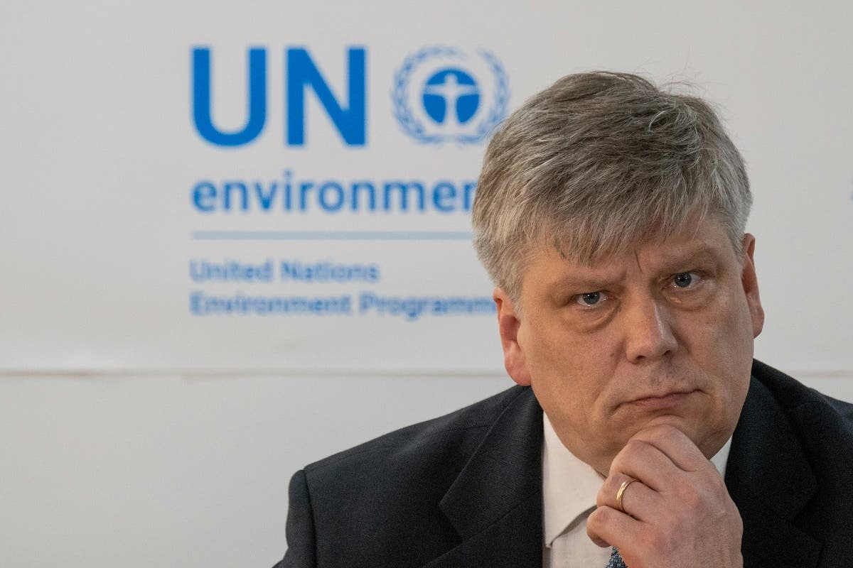 Siim-Valmar Kiisler, Estonia's Environment Minister and President of the UN Environment Assembly, gives a press conference after the opening Plenary of the 4th UN Environment Assembly at the UN headquarters in Nairobi, Kenya. (AFP)