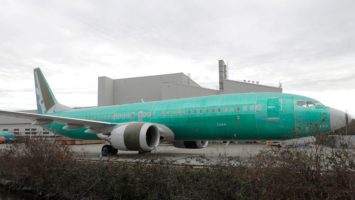 A Boeing 737 MAX 8 being built for Oman Air parked at Boeing Assembly Plant in Renton, Wash. on March 11, 2019 (AP)