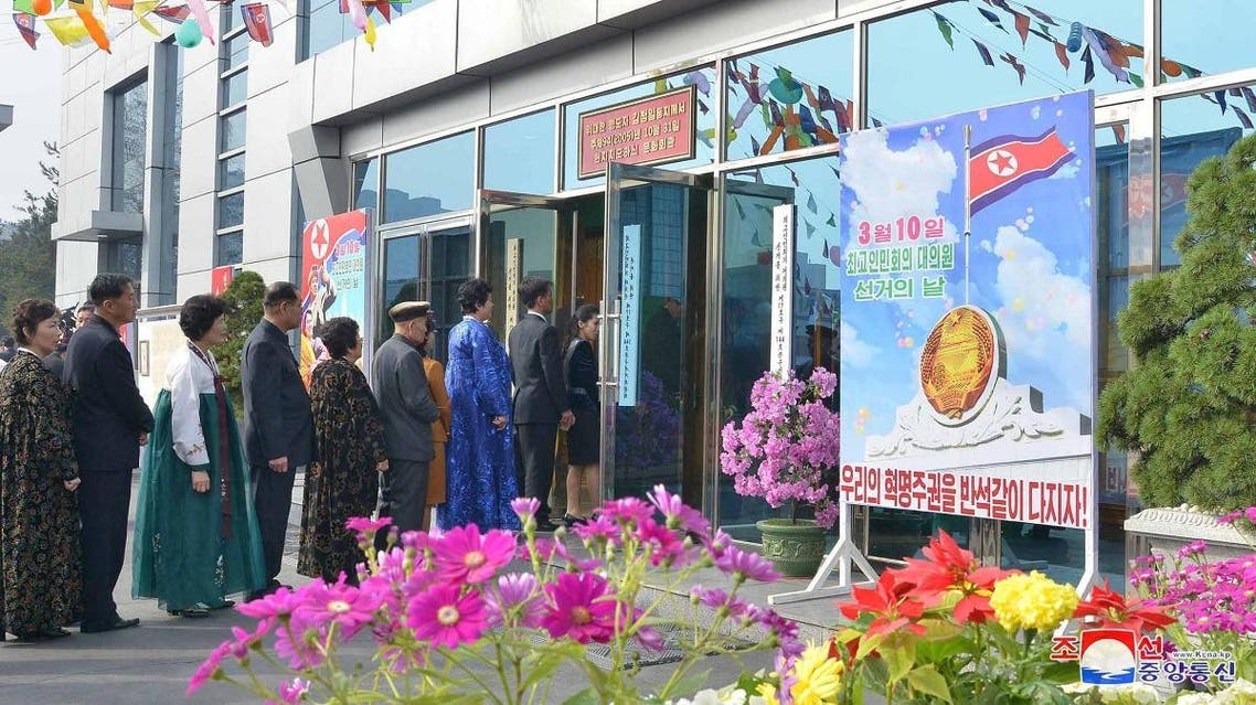 People prepare to vote during the election for the Supreme People's Assembly in this undated picture released by North Korea's Korean Central News Agency (KCNA). (Reuters)