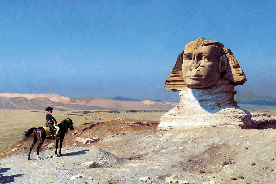 لوحة تجسّد نابليون بونابرت وهو يتأمل تمثال أبو الهول