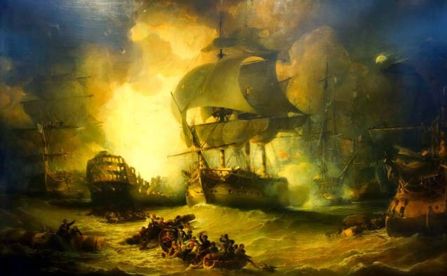 لوحة زيتية تخلد هزيمة البحرية الفرنسية بمصر