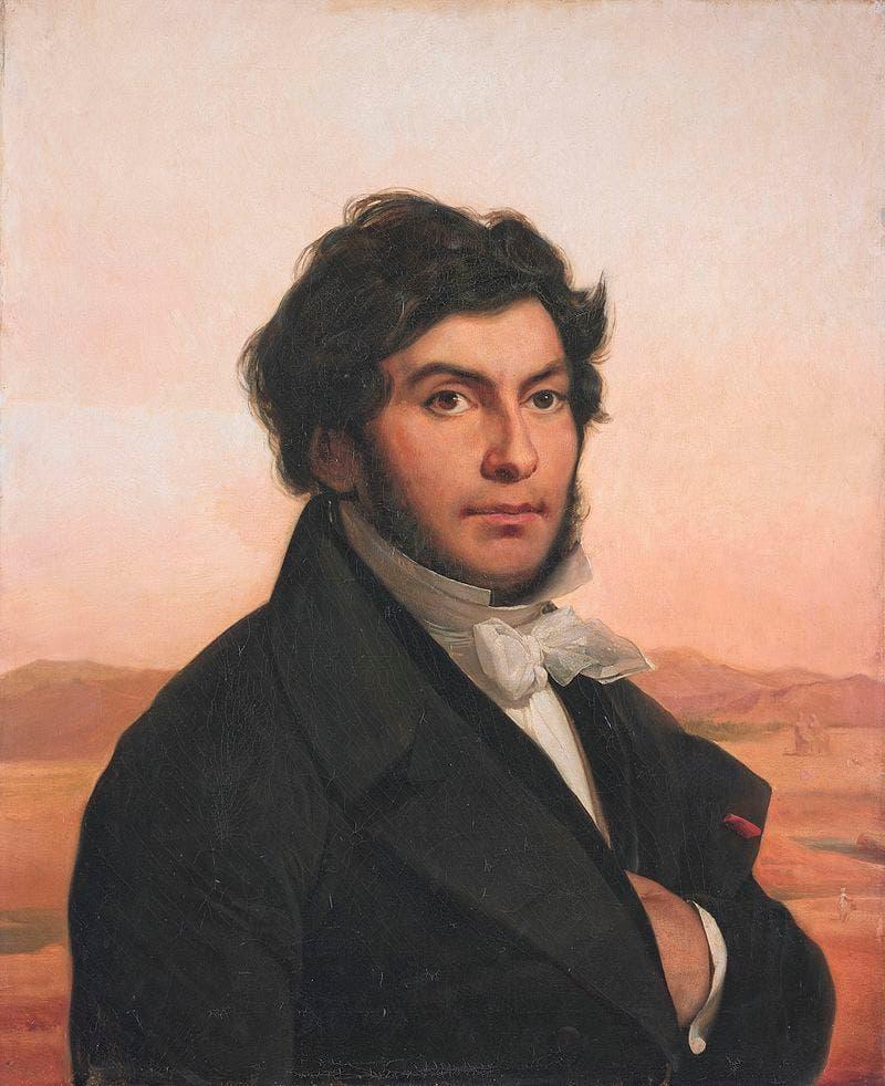 لوحة زيتية تجسد العالم الفرنسي جون فرانسوا شامبليون