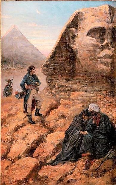 لوحة تجسد نابليون بونابرت قرب تمثال أبو الهول