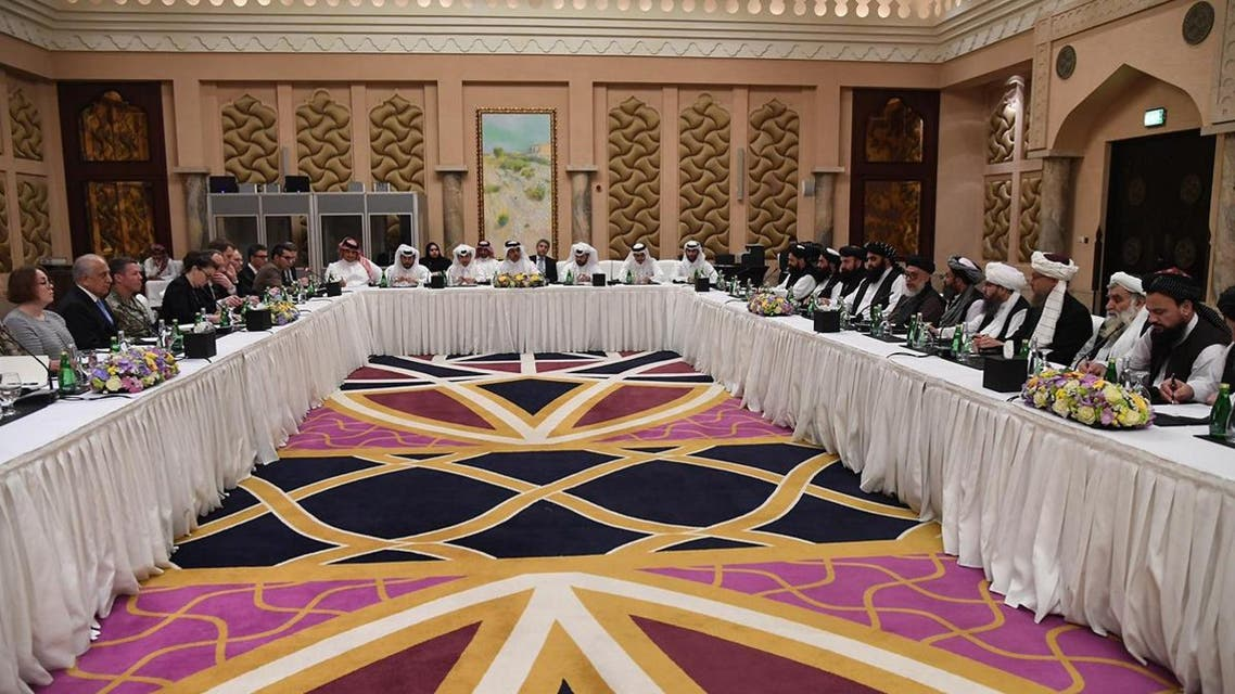 handout picture released by the official Qatar's Ministry of Foreign Affairs on February 26, 2019 shows Qatari officials (C) taking part in meeting between US special envoy Zalmay Khalilzad (2nd-L), and the US delegation. (AFP)