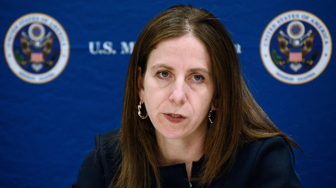 Sigal Mandelker, US Treasury Under Secretary for Terrorism and Financial Intelligence, addresses a press conference as she visits east Africa to discuss the illicit cash flows from South Sudan and Democratic Republic of Congo over alleged corruption at the US Embassy in Kampala on June 11, 2018.