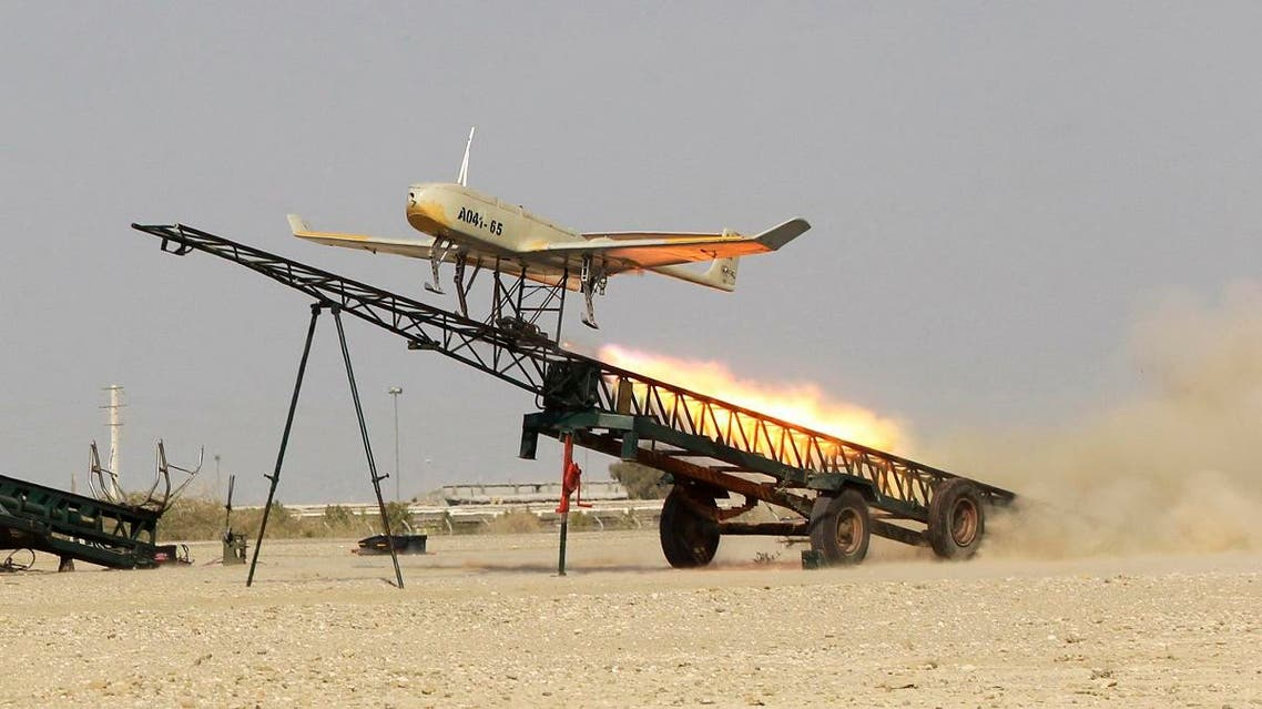A file photo of an Iranian made drone is launched during a military drill in Jask port, southern Iran. (AP)