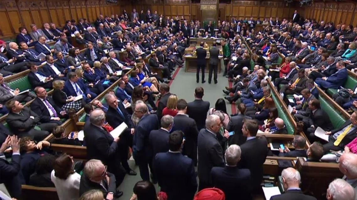 A packed House of Commons in London on March 14, 2019 as MPs vote on ammendments to a motion on delaying the date of leaving the EU. (AFP)
