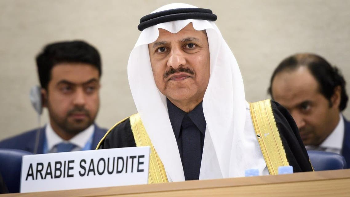 President of the Human Rights Commission of Saudi Arabia, Bandar bin Mohammed Al-Aiban delivers a speech before the UN Human Rights Council during the Universal Periodic Review on November 5, 2018 in Geneva. (AFP)