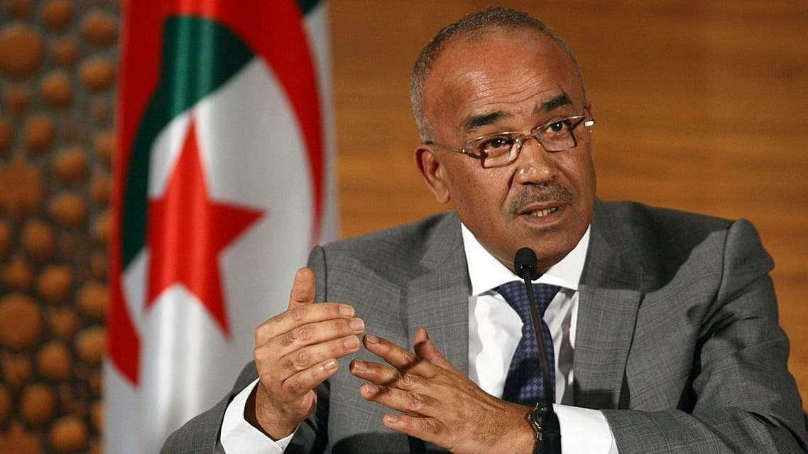 Algeria's new prime minister Noureddine Bedoui gives a press conference, in Algiers, Algeria, Thursday, March 14, 2019. (AP)