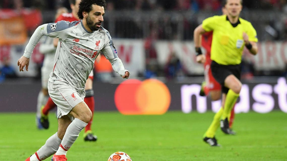Liverpool forward Mohamed Salah controls for the ball during the Champions League match against Bayern Munich on March 13, 2019. (AP)