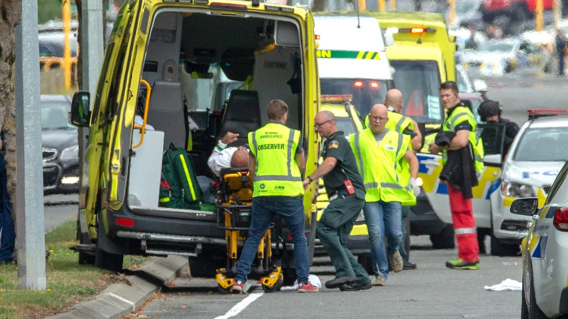 An injured person is loaded into an ambulance following a shooting at the Al Noor mosque in Christchurch, New Zealand, March 15, 2019. REUTERS/SNPA/Martin Hunter ATTENTION EDITORS - NO RESALES. NO ARCHIVES