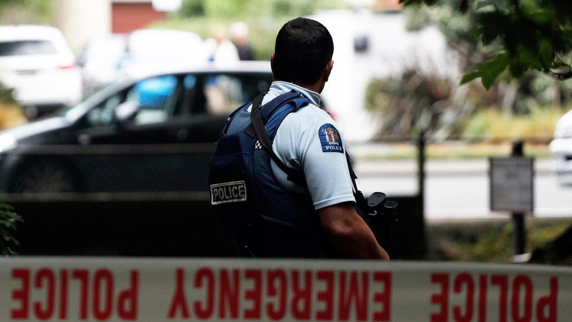 A police officer secures the area in front of the Masjid al Noor mosque after a shooting incident in Christchurch  (AFP)