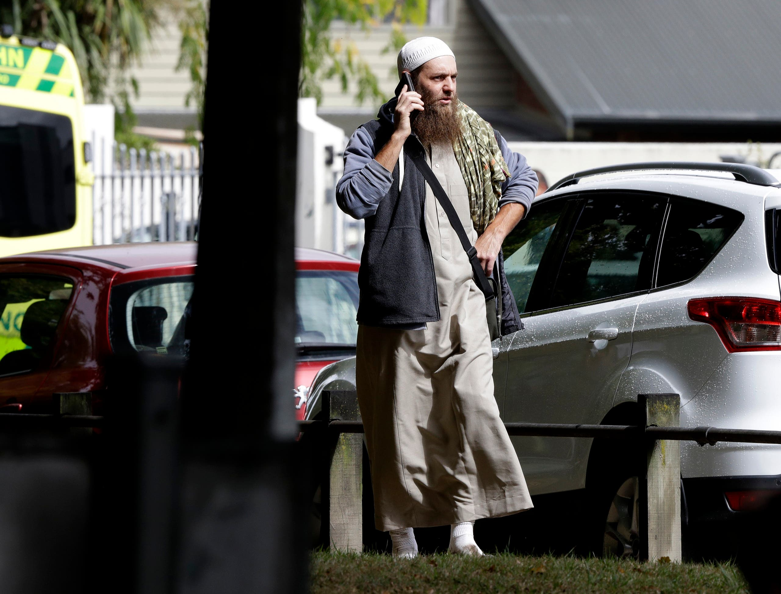 A man dressed in a military-style, camouflage outfit, and carrying an automatic rifle had started randomly shooting people in the mosque, police said. (AP)