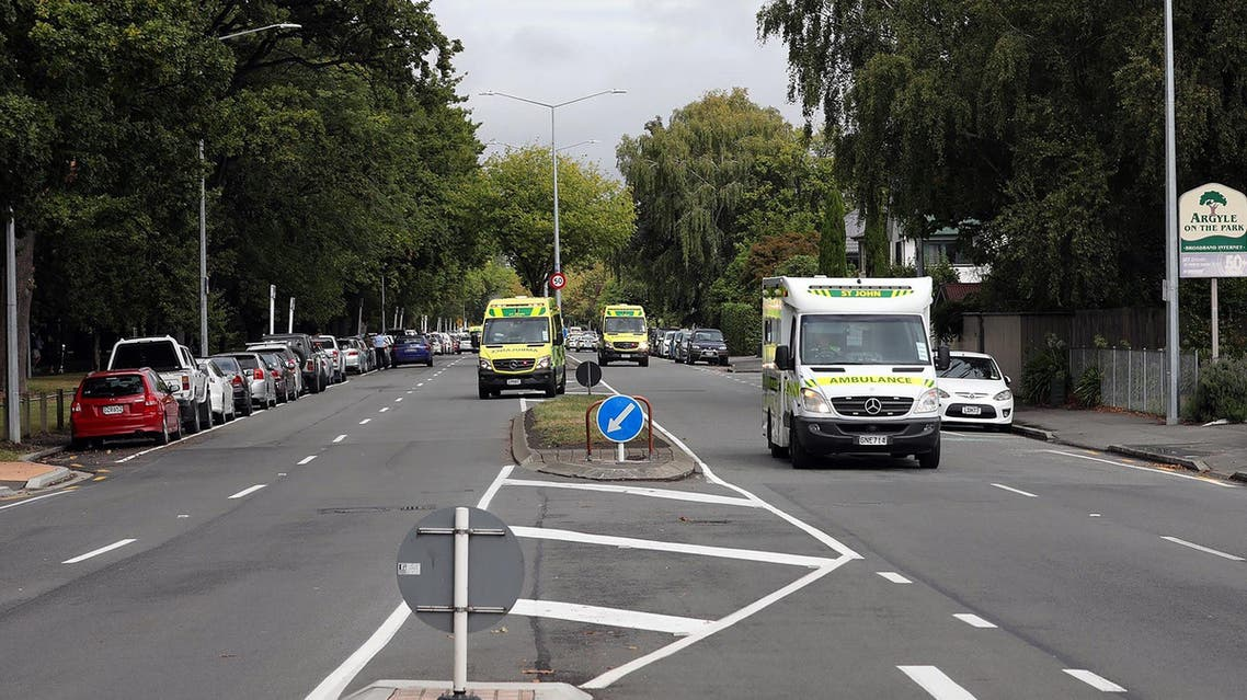Ambulances rushing toward the mosque after a firing incident in Christchurch on March 15, 2019. (AFP)