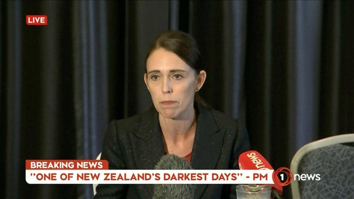 New Zealand's Prime Minister Jacinda Ardern speaks on live television following fatal shootings at two mosques in central Christchurch on March 15, 2019. (Reuters)
