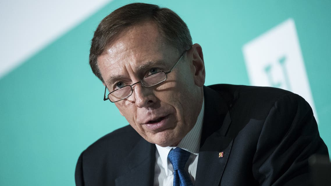 WASHINGTON, DC - OCTOBER 23: David Petraeus, retired U.S. Army General and former director of the Central Intelligence Agency, speaks during a discussion on countering violent extremism, at the Ronald Reagan Building and International Trade Center, October 23, 2017 in Washington, DC. The program was focused on issues of extremism in the Middle East, including Qatar, Iran and the Muslim Brotherhood. Drew Angerer/Getty Images/AFP