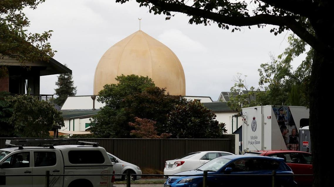 A police vehicle is seen outside Masjid Al Noor mosque after Friday's mosque attacks in Christchurch. (Reuters)