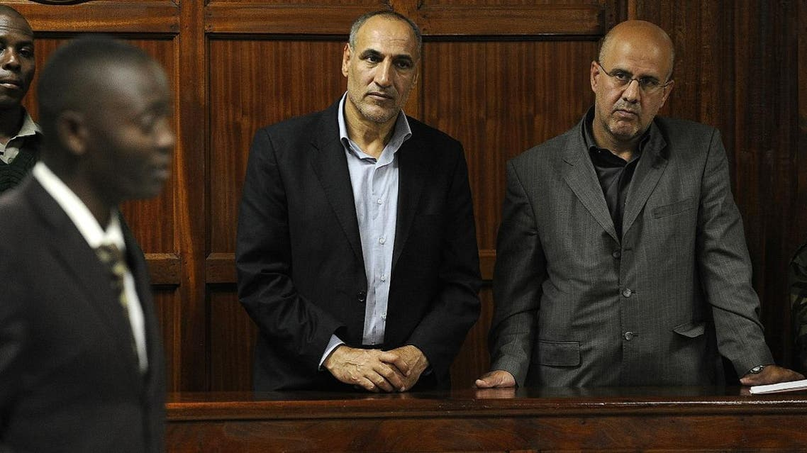 File photo of Sayed Mansour Mousavi (L) and Ahmad Abolfathi Mohammed during their trial in Nairobi. (AFP)