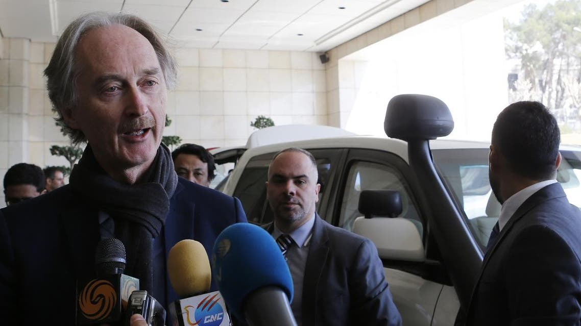 UN Special Envoy for Syria Geir Pedersen speaks to the press upon his arrival in the capital Damascus on March 17, 2019. (AFP)