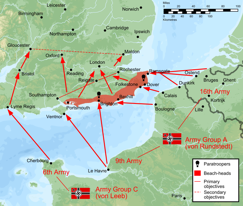 رسم تخيلي لخطة الإنزال البحري الألمانية استعدادا لغزو بريطانيا