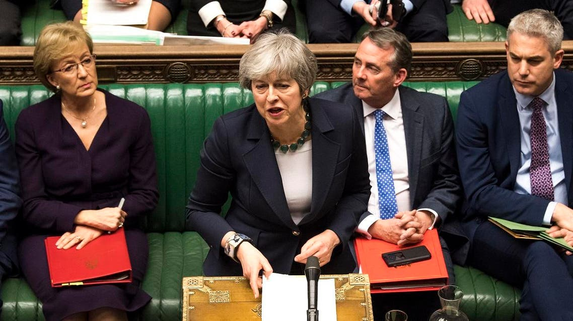 Britain's Prime Minister Theresa May responds to the result of a vote in the House of Commons in London. (AFP)