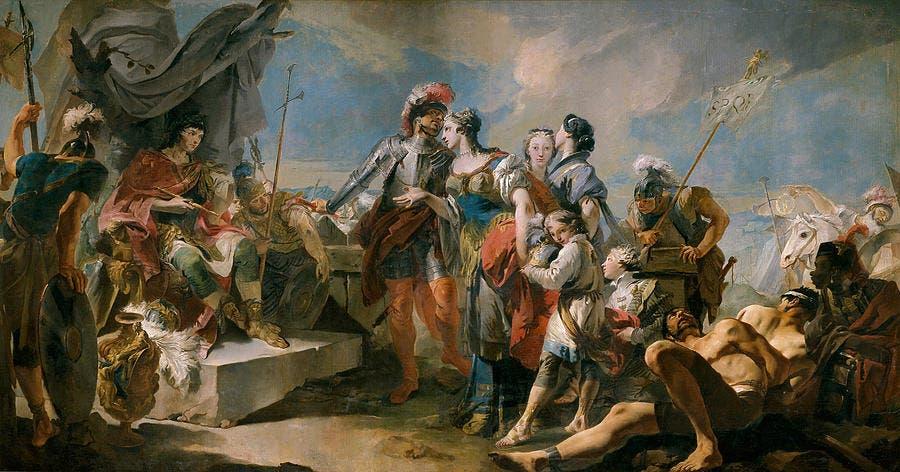 لوحة زيتية تجسد وقوع زنوبيا في الأسر وعرضها على أوريليان