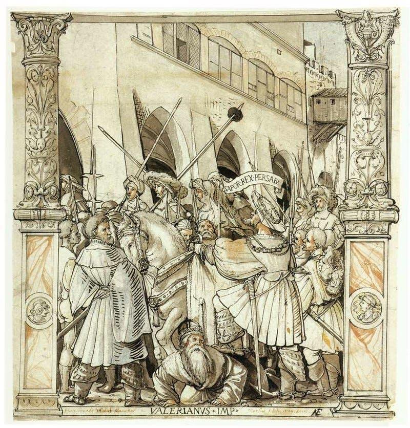 رسم تخيلي يجسد أسر الإمبراطور الروماني فاليريان