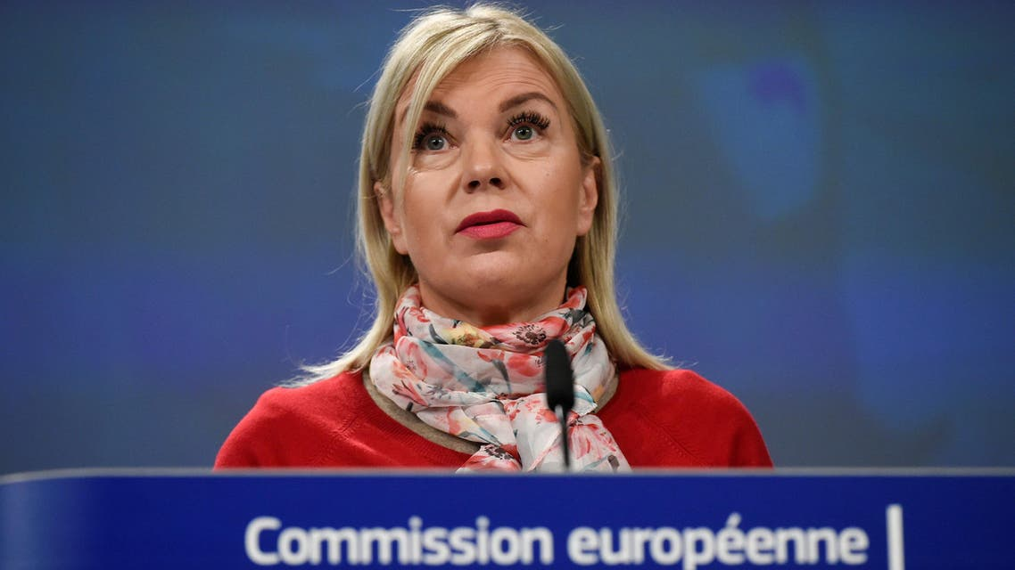 EU Industry Commissioner Elzbieta Bienkowska at a press conference at the EU headquarters in Brussels on November 22, 2018. (AFP)