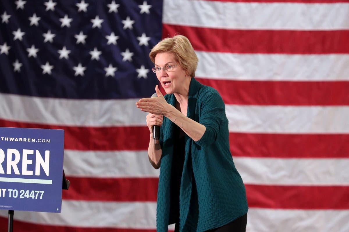 US Senator Elizabeth Warren speaks to supporters in Memphis. (Reuters)