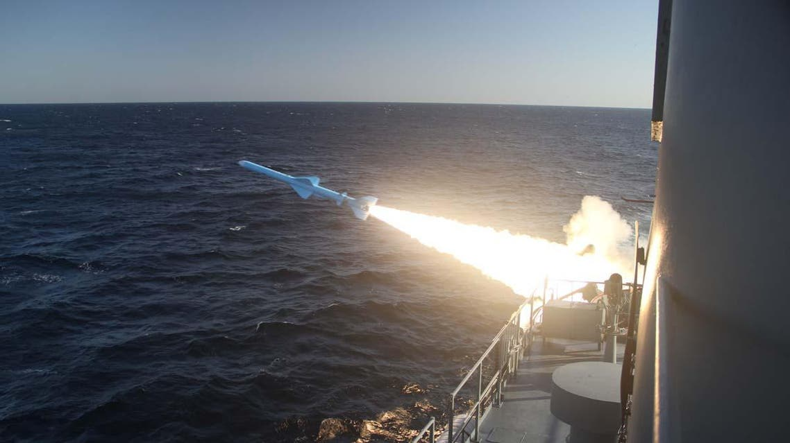A handout photo made available by the Iranian Navy office on February 23, 2019, shows an Iranian Navy missile launch during a military drill in the Gulf of Oman. (File photo: AFP)