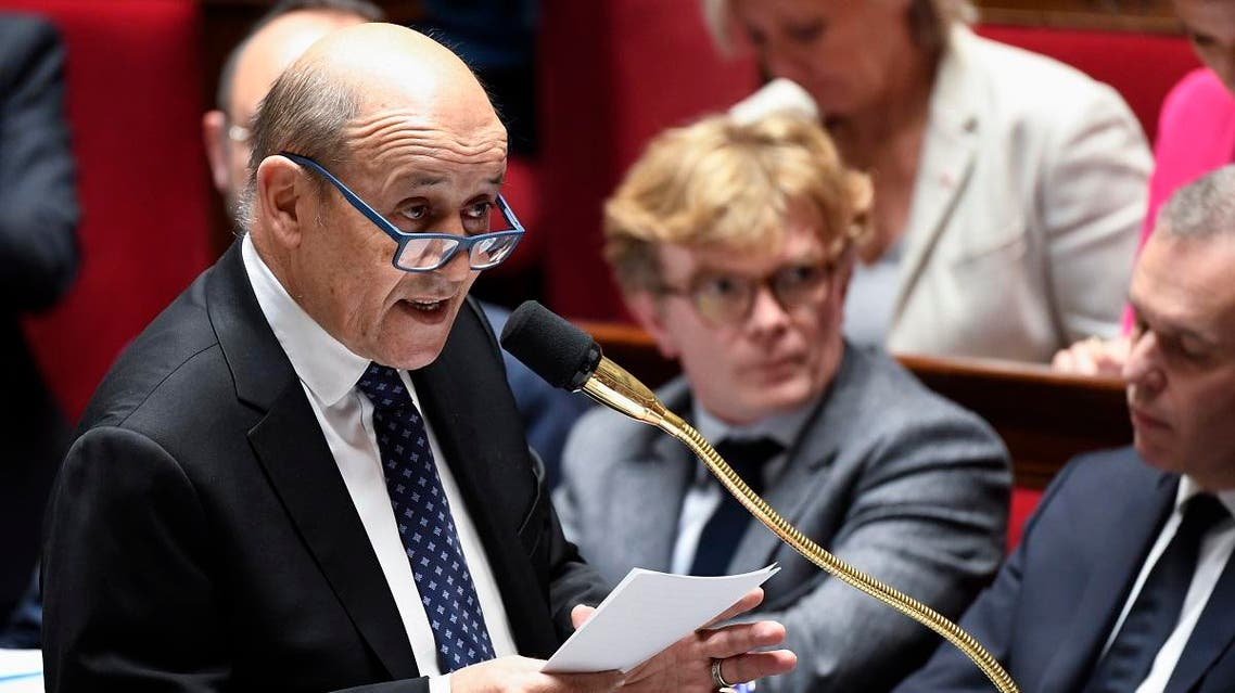 French Foreign Affairs Minister Jean-Yves Le Drian speaks during a session of questions to the government at the National Assembly in Paris. (AFP)