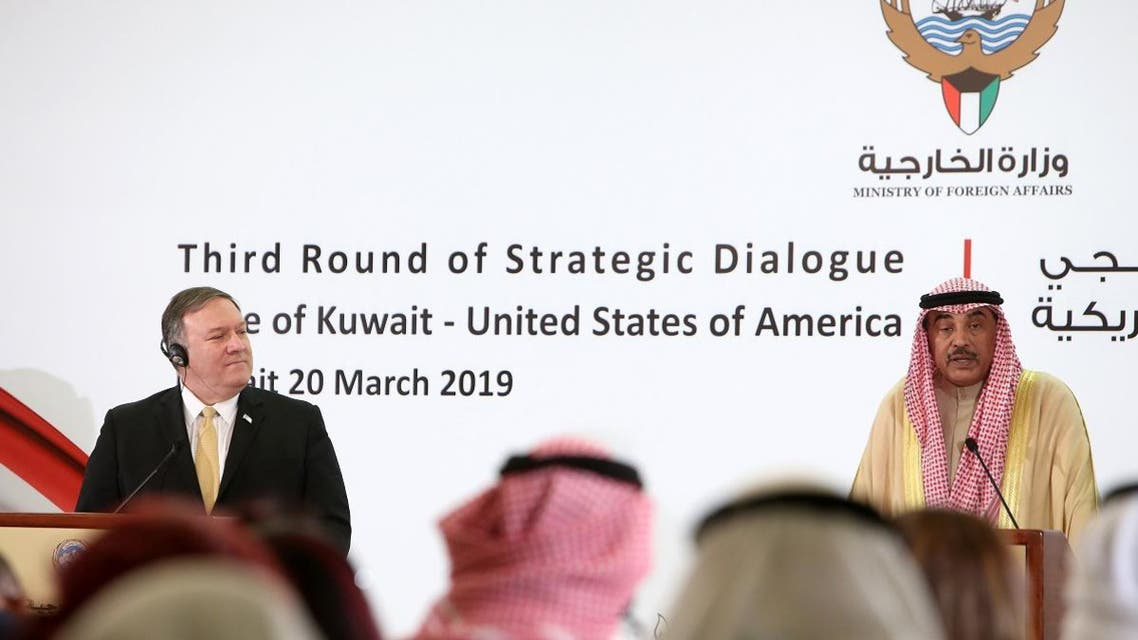 US Secretary of State Mike Pompeo (L) and Kuwait's Foreign Minister Sheikh Sabah al-Khalid al-Sabah give a joint press conference in Kuwait City on March 20, 2019. (AFP)