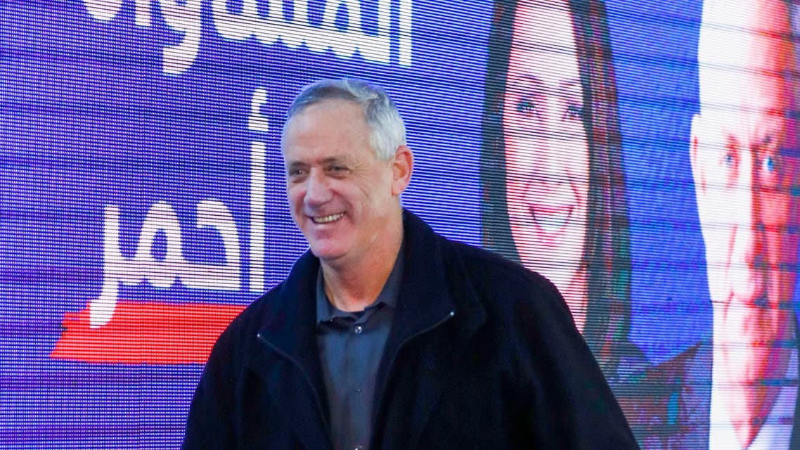 Benny Gantz during a meeting with members of the Druze community of Israel in Daliyat al-Karmel on March 7, 2019. (AFP)