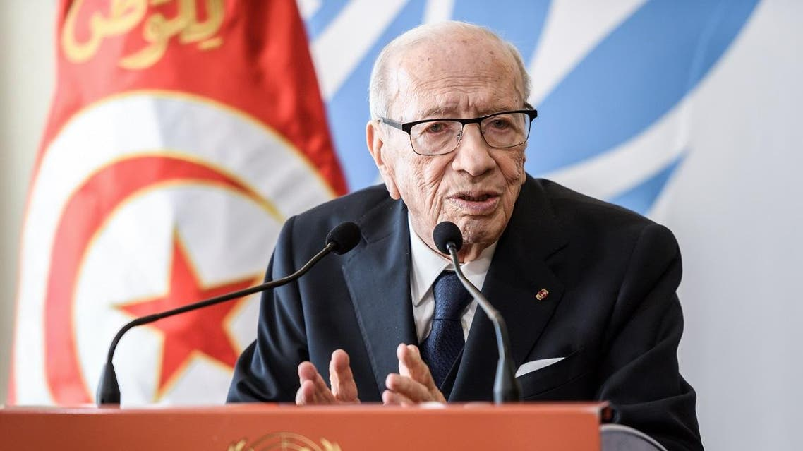 Tunisian President Beji Caid Essebsi speaks during a press conference. (AFP)