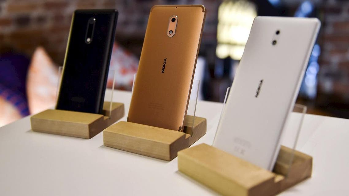 Nokia branded smartphone models 5, 6 and 3 are on display during a press conference of Finnish mobile phone maker HMD Global in Helsinki. (File photo: AP)