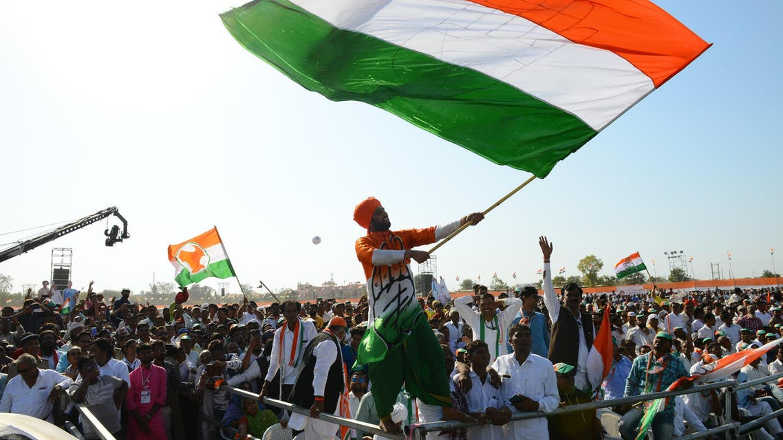 Supporters of the Indian National Congress party during a rally near Ahmedabad on March 12, 2019. (AFP)