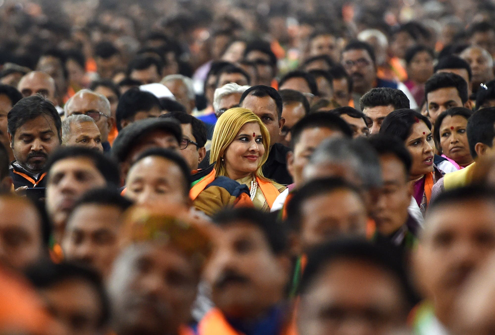 Supporters of Narendra Modi's BJP gather on the first day of the party's national convention in New Delhi on January 11, 2019. (AFP)
