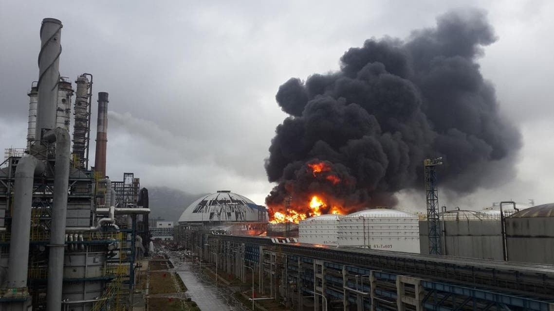 File photo of an explosion at a chemical plant in Zhangzhou, east China's Fujian province. (AFP)