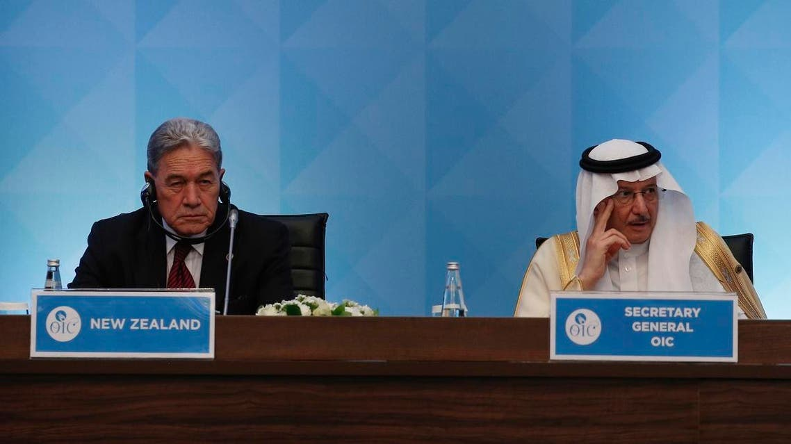 New Zealand's Deputy Prime Minister and Minister of Foreign Affairs Winston Peters (L) with OIC Secretary General Yousef bin Ahmed Al-Othaimeen in Istanbul, Turkey, March 22, 2019. (AP). (AP)