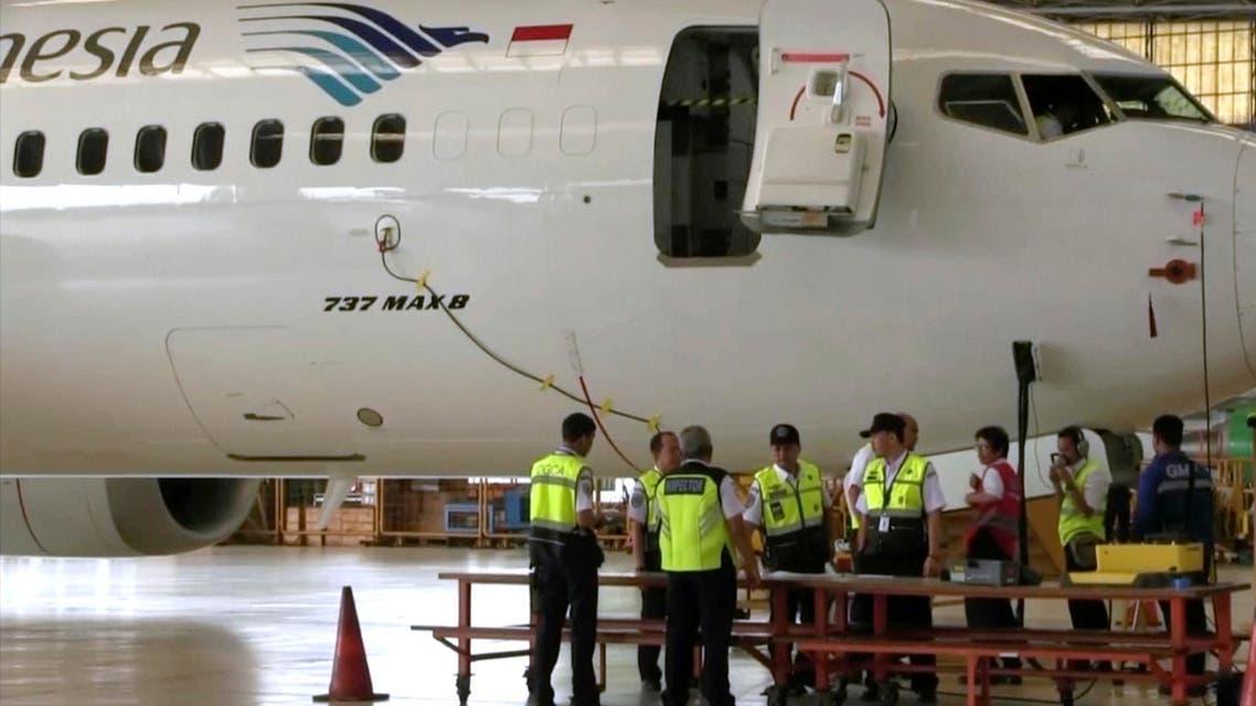 a Boeing 737 Max 8 aircraft is in hangar before the inspection at Garuda Maintenance Facility at Soekarno Hatta airport, Jakarta (AP)