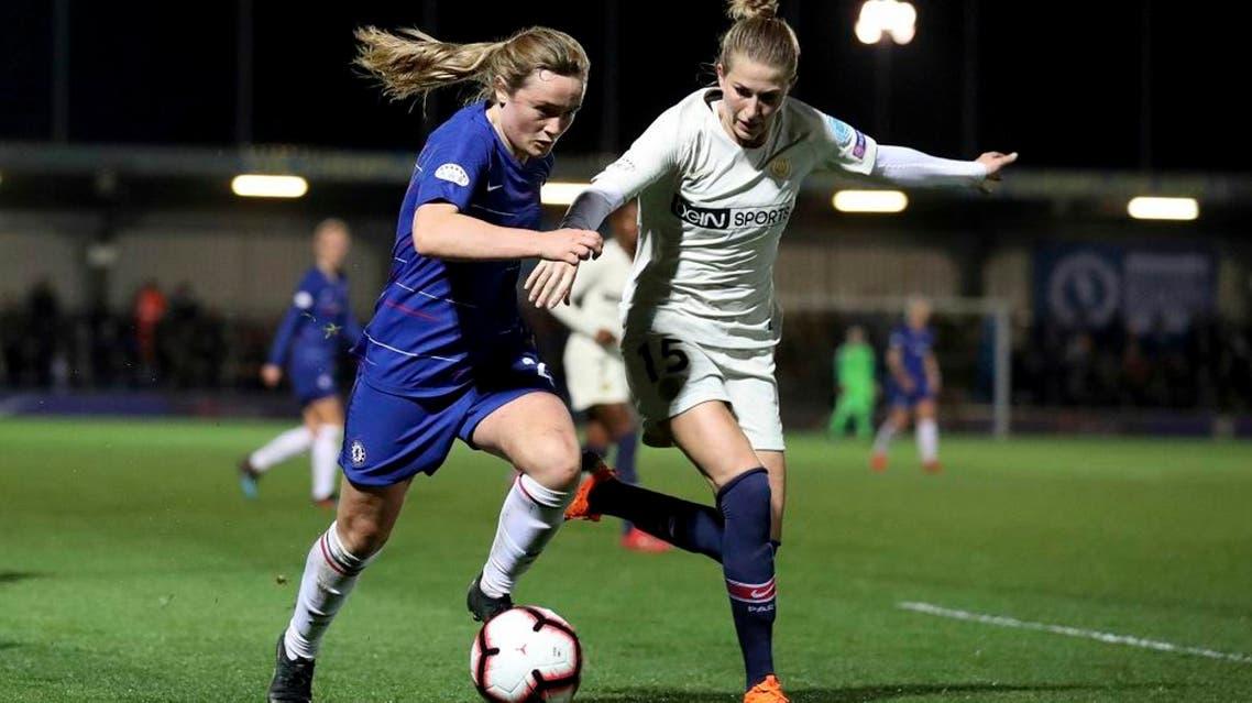 Chelsea Women's Erin Cuthbert vies for the ball with Paris Saint-Germain Women's Emma Berglund. (AP)