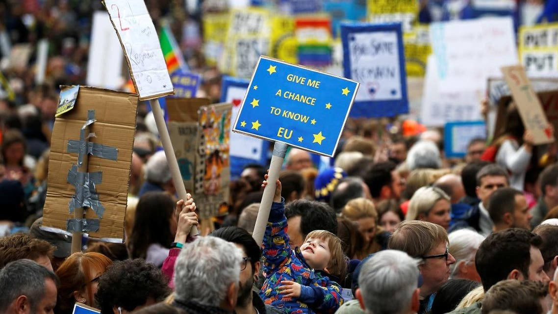 EU supporters participate in the 'People's Vote' march in central London. (Reuters)
