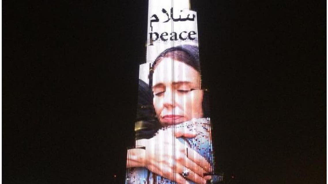 Burj Khalifa lights up with Jacina Ardern's photo. (Twitter)l